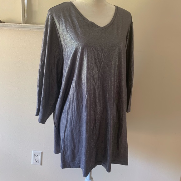Catherines Tops - Catherine's Long Sleeve Shimmer Metallic Top